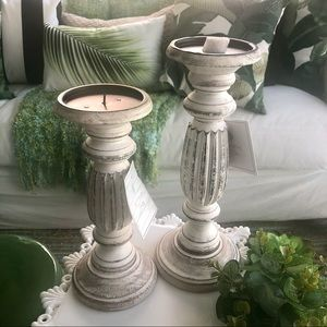 NWT Farm House Distressed Style Candle Holders